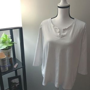 L.L. Bean White 3/4 Sleeve Shirt